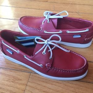 Men's Sebago dockside shoes 10.5 Medium berry red